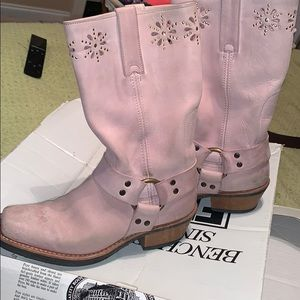Frye pink harness boots 8
